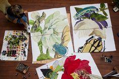 Studio photography of artist, Sarah Graham by Greg Funnell Sarah Graham, Large Scale Art, Art Studio At Home, Chelsea Flower Show, 2d Art, Famous Artists, Art Studios, Artist At Work, Garden Art