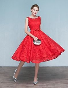 Cocktail Party Dress A-line Scoop Tea-length Lace with Appliques / Beading / Bow(s) / Lace – GBP £ 69.99