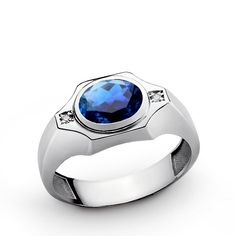 Blue Sapphire Men's Ring with Genuine Diamonds in Sterling Silver