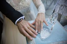Wedding rings with Cinderella's glass slipper