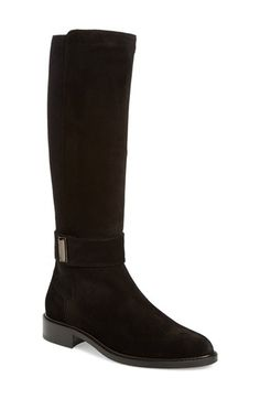Free shipping and returns on Aquatalia 'Giada' Weatherproof Riding Boot (Women) at Nordstrom.com. A sleek buckle strap at the ankle underscores the equestrian-inspired appeal of a gorgeous weatherproof boot featuring an elasticized panel at the calf to ensure a custom fit and finished with a stacked block heel.