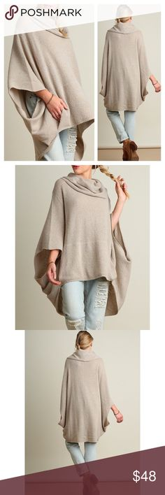 New Arrival- Chic Oatmeal Oversized Poncho This listing is for a soft, warm, and cozy oversized poncho. Oatmeal color. Knit cowl neck poncho top. Cotton blend. 65% Cotton, 35%  Polyester. Available in sizes Small, Medium, and Large. Brand new! Price is firm unless bundled. Thank you. Sweaters Cardigans
