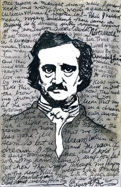 Edgar Allan Poe The original artwork is a 4x6 ink drawing.