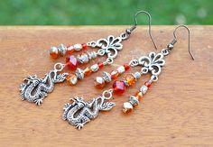 Red Dragon Earrings Handmade fire orange by HiddenTreasury12