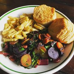 Rainbow Swiss Chard & Rainbow Carrots, Vegan & Gluten-Free Mac-n-Cheese & Biscuits