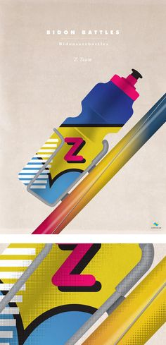 Bidon Battles - Z Team on veloposter Bicycle Art, Cycling Art, Battle, Illustration Art, Racing, Scrapbook, Prints, Painting, Tennis