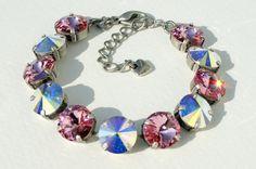Swarovski 12mm Crystal Bracelet -  Sabika Inspired -  Very Feminine -  Light Rose & Aurora Borealis -   Breast Cancer Awareness Pink