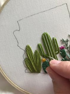 Cactus Embroidery, Hand Embroidery Patterns Flowers, Basic Embroidery Stitches, Embroidery Monogram, Ribbon Embroidery, Embroidery Art, Cross Stitch Embroidery, Cross Stitch Patterns, Embroidery Designs