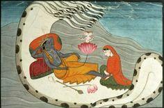 Vishnu and Lakshmi on Shesha Naga. From the Victoria and Albert Museum) Find out more about Shesha Naga at Wikipedia. Arte Krishna, Indian Art Gallery, Lord Vishnu, World Religions, Hindu Deities, Hindu Art, Indian Gods, Indian Paintings, Fantastic Art