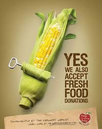 Calgary Food Bank: Corn Nailed it! Definitely get that this is for a food bank and about fresh food donations. Food Advertising, Creative Advertising, Advertising Design, Advertising Campaign, Campaign Posters, Funny Commercials, Funny Ads, Calgary, Banks Ads
