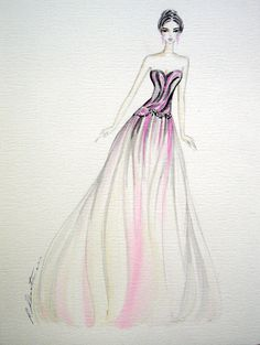 Items similar to fashion illustration - marbled gown - original on Etsy