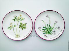 Купить Роспись фарфора Коллекция тарелок на стену Альпийские растения - роспись фарфора, роспись по фарфору
