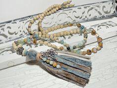 Charm- & Bettelketten - Bettelkette - AMAZONIT - HOLZ - SAMEN - GLAS - - ein Designerstück von Kunterbuntes-Perlenspiel bei DaWanda