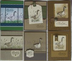 Stampin'Up! handmade cards using Wetlands stamp set ...  Group 1 by jreks  ... feature the goose ... lots of kraft and earthy colors ...