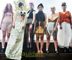 """Nottingham based fashion brand GUARDEN. """"Love Sushi"""" S/S 13 Collection Left to right; Salmon Sheer Sashimi Dress, Rice Lace Top w/ Printed Maxi Box Skirt, California Roll Swimsuit w/ Seaweed Mesh Maxi Skirt, Seaweed Halter  w/ Ginger Skirt, Ginger Button Blouse w/ Onigiri Checkered Harem Shorts, Ikura gunkan-maki Blouse w/ White Harem Trousers. Modeled by (left to right); Katie Walters, Lauren Marie, Charlie B, Min, Rosy LEE, Laury B. MUA: Sarah Vaites, @Genius  Photographer:@Paul Dale"""