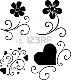 pattern of flowers and hearts vector silhouette - Buy this stock photo and explore similar images at Adobe Stock Bird Silhouette, Silhouette Vector, Stencils, Arts And Crafts, Paper Crafts, Stencil Patterns, Vinyl Designs, Swirls, Painted Rocks