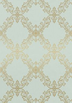 Mirabeau is a simple medley of scale and tone as a steadily rising #wallpaper pattern composed of elegant Parisian embellishments and dainty scrolls. Featured here in #metallic on #aqua from the Richmond collection. #Thibaut