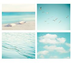 "Beach Photography Print Set, aqua blue ocean photo print set sea shell beach photography set - Four 8x10 Fine Art Prints, ""By the Sea"""