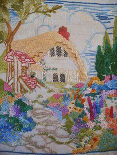 Vintage Hand Embroidered Picture on Linen Cottage Garden C1930s | eBay