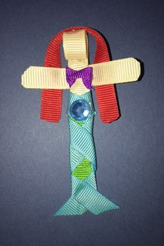 Ariel the Mermaid Ribbon Sculpture as pin, barrette, or clip by Reneespixiedust… Ribbon Sculpture, Barrette, Disney Inspired, Ariel, Mermaid, Felt, Unique Jewelry, Handmade Gifts, Outdoor Decor