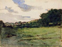 Jean-François Millet (1814-1875) Paysage près de Gruchy, vers 1854 (?) Plume et encre brune, aquarelle - 21,8 x 28,4 cm Paris, Fondation Cus...