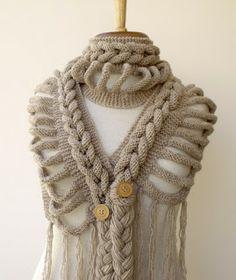 cachecol de tranças em trico