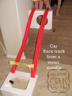 Ahhh, now I know what to do with the noodles that I keep picking up off the road after they fall out when I open the trunk of my car! Racetracks. Sweet.