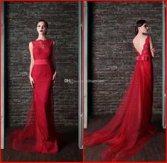Wholesale Evening Gowns - Buy New Rami Kadi 2014 Lace Evening Dresses Red Bateau Open Back Sheath Tulle Detachable Chapel Train Elegant Formal Gowns Party Dress AE-81, $159.0 | DHgate