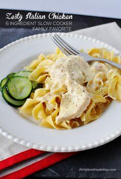 Slow Cooker Zesty Italian Chicken (6 Ingredient Meal)