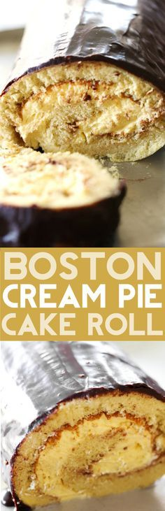 Boston Cream Pie Cake Roll - A delicious sponge cake filled with an incredible cream filling and topped with a rich chocolate ganache! This is one unforgettable recipe that is a complete show stopper!