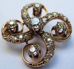 18k Rose Gold Edwardian Diamond Pendant / Brooch #GoldJewelleryBridal