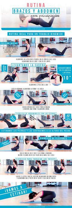 Rutina para trabajar el abdomen y los brazos paso a paso | GYM VIRTUAL