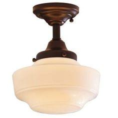 allen   roth�8.62-in W Dark Oil-Rubbed Bronze Opalescent Glass Semi-Flush Mount Light $45 hallways