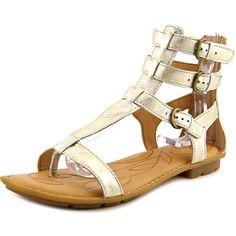 Born Marcia Women  Open Toe Leather Gold Gladiator Sandal NWOB #Born #Gladiator