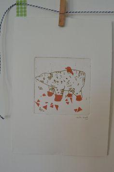 tapis ours, série les inuits linogravure+eau-forte linocut+engraving