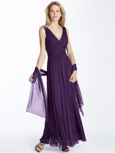 Like the lines of this dress & fabric for bridesmaids - without that shaw thing.