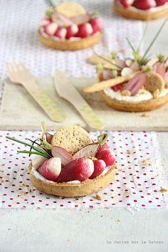 tartelettes à la mousse de chèvre frais et radis, crakers au pavot