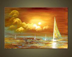 Voilier peinture abstraite coucher de soleil en mer peinture acrylique originale par Osnat - sur commande - 36 « x 24 »