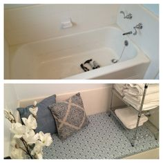 Losing space due to an unused bath tub. Instead of losing space, we created a sitting area.