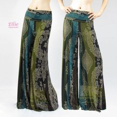 RTYou Women High Waist Boho Pants Casual Slim Fit Floral Printed Beach Palazzo Pants Wide Leg Lounge Pants