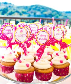 These are the brightest, happiest #birthday #cupcakes! #party #hotpink #yellow