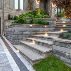 Driveway project with U-Cara retaining walls Patio Stairs, Front Stairs, Exterior Stairs, Backyard Patio, Sloped Backyard, Retaining Wall Steps, Concrete Retaining Walls, Landscaping Retaining Walls, Retaining Wall Lights