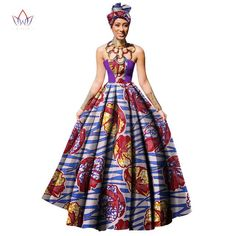 Image of Womens African Dress Dashikis Print Ball Gown Party Dress, Maxi and Strapless Women gown with Free Headwear Plus - without Necklace African Print Jumpsuit, African Print Dresses, African Wear, African Fashion Dresses, African Dress, African Dashiki, African Outfits, Dashiki Dress, Gown Pattern