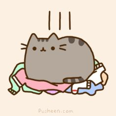 "Forget the boxes, Pusheen sits on last week's laundry. Brings a new meaning to the term ""laundry drop"", doesn't it?"