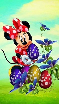 Minnie's Easter Eggs Mickey Mouse Wallpaper, Mickey Mouse Cartoon, Mickey Mouse And Friends, Mickey Minnie Mouse, Disney Wallpaper, Retro Disney, Disney Art, Cute Disney, Walt Disney