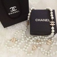 Vintage Designer Chanel Inspired Gold CC Long White Pearl Necklace