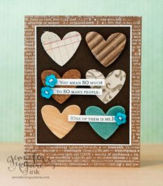 Textured Die Cuts heart card by JenMcGuire