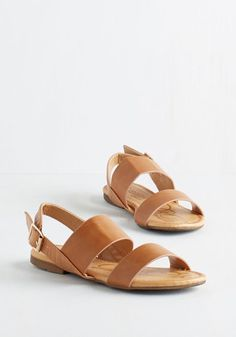 Ooh Baby It's a Wild Wharf Sandal in Caramel - Flat, Faux Leather, Tan, Solid, Buckles, Casual, Festival, Summer, Good, Slingback, Variation, Boho, Vintage Inspired, 70s