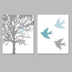 Birds+and+Trees++Set+of+Two+8x10+Prints++Perfect+for+by+Tessyla,+$39.50
