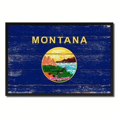 Montana State Flag Art Shabby Chic Gift Ideas Office Home Wall Décor 8426 #spotcolorartcom #Vintage
